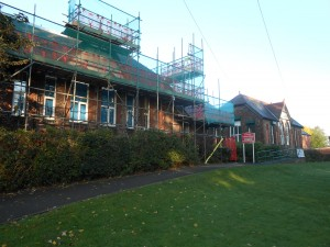 Front of school scaffolding